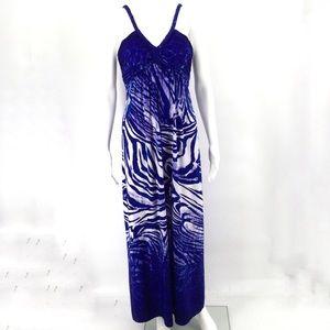 BOSTON PROPER Maxi Dress 4 Blue White Zebra